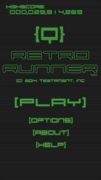 Retro Runner - Main Screen